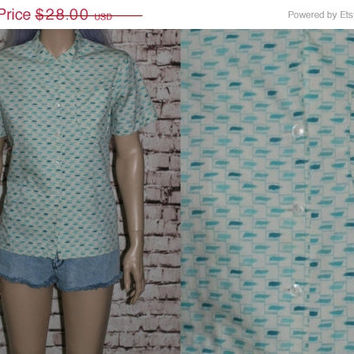 60s Blouse Peter Pan Collar White Teal Mint Green Ship n Shore 50s Mod Rockabilly Pin Up Hipster 40s Blue Shirt Top Button up S