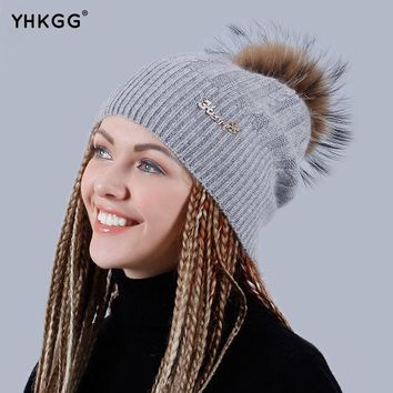 ESBU3C YHKGG 2016 Brand New Winter Wool Knitted Winter Warm Hat Knitted Cashmere Thick Female Cap Beanies