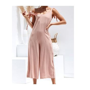Summer new sling sexy jumpsuit wide-leg pants