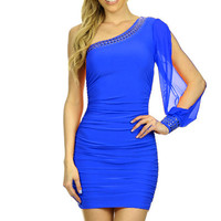 One Shoulder Chiffon Lace Dress - BLUE - Reg Size - 1X