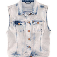 Button front denim vest