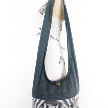 Hippie Hobo Gray Boho bag -Vintage Hill Tribal Gpysy Bag Women thai handbags Crossbody bag Sling Cotton Shoulder Messenger bag Purse