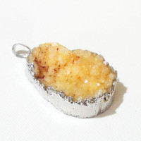 Orange Druzy Crystal Agate Pendant  Dipped in Silver, Orange Teardrop, Drussy Druzzy Jewelry, Select With Or Without Chain