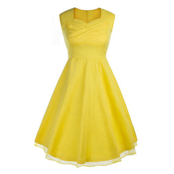 Vintage Hepburn Style Sleeveless Square Dress   yellow   S