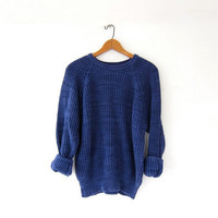 vintage LL Bean sweater. chunky knit sweater. loose knit sweater. basic blue sweater.