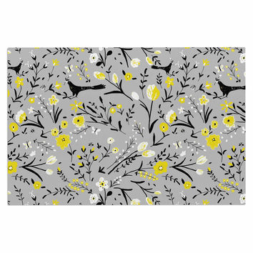 "Laura Nicholson ""Blackbirds On Gray"" Gray Yellow Decorative Door Mat"