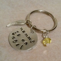 Mummy to an angel memory keyring/keychain handstamped