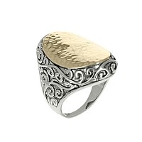 Two-Tone Filigree Hammered Statement Ring