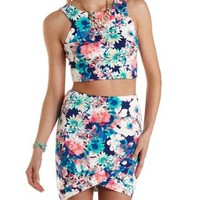 Floral Crop Top & Mini Skirt Hook-Up by Charlotte Russe - Blue Combo