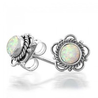 Bling Jewelry 925 Silver Synthetic Opal October Birthstone Flower Stud Earrings