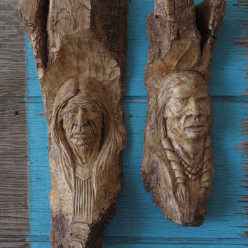 Wood Spirit Carvings Depicting Native Americans Cast Wall Art Pair T. Kramer 1977 Signed
