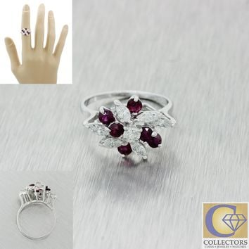 Vintage Estate 14k Solid White Gold 1.17ctw Diamond Ruby Cluster Flower Ring