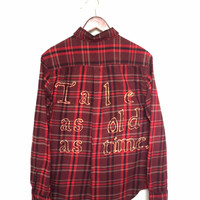 "Plaid Disney Shirt, ""Tale as old as time."" Beauty and the Beast Flannel Burgundy + Maroon"