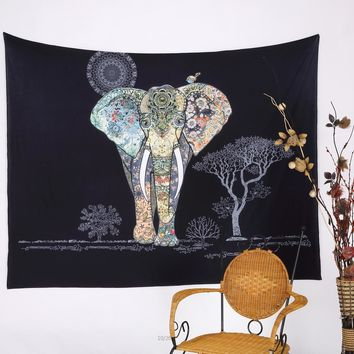 Indian Black Flowers Elephant Tapestry 203x153cm Bohemian Hippie Wall Hanging Tapestries Door Curtain Bedspreads Free Shipping