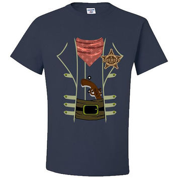 Western Sheriff Halloween Costume T-Shirt Adult Unisex Dress Up Lawman Deputy Wild West Cowboy Badge Old West