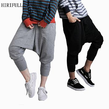 New Hot Sell 2017 Hiphop Casual Loose Harem Pants Elastic Waist Double Pockets Jazz Ankle Length Trousers For Men And Women