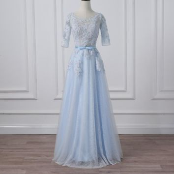 Prom Dresses Light Blue Three Quarter Sleeves A-line Long Evening Dress Floor Length Party Gowns
