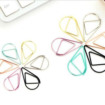 Small Size 2.5*1.6cm Modeling Paper Clips Metal Material Water Drop Shape Colored Bookmark Memo Clips Kawaii Bookmark Clips