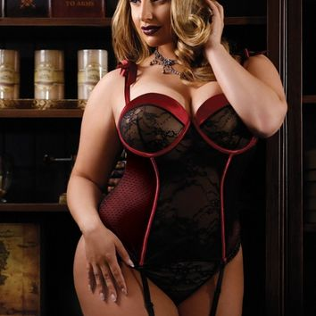 Curve Lingerie Red and Black Bustier