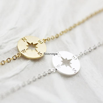 Compass charm Bracelet , Journey  Bracelet , Travel Bracelet