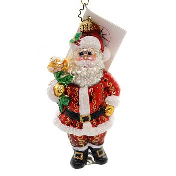 Christopher Radko WINTER ROSE Glass Christmas Santa 3010706