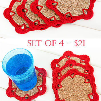 Crochet Coasters, Home Decor, Set of 4, Red, Cork base