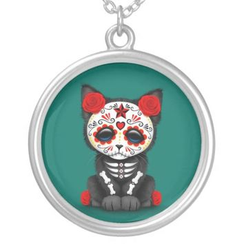 Cute Red Day of the Dead Kitten Cat, teal blue