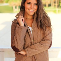 Camel Quilted Jacket with Fur Lined Hood