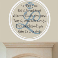 """Family Name Decal Our Family Circle With Initial- Livingroom-Familyroom-Kitchen-Picture wall-Photo wall 22""""H x 22""""W"""