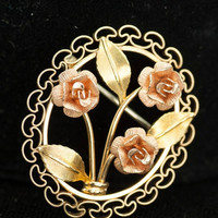 Krementz Signed Vintage Yellow and Rose Gold Overlay Brooch and Earrings