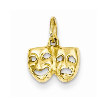 14k Yellow Gold Comedy Tragedy Face Pendant