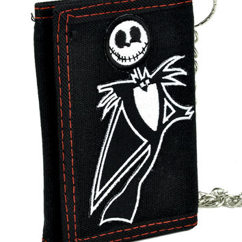 Jack Skellington Tri-fold Wallet w/ Chain Nightmare Before Christmas
