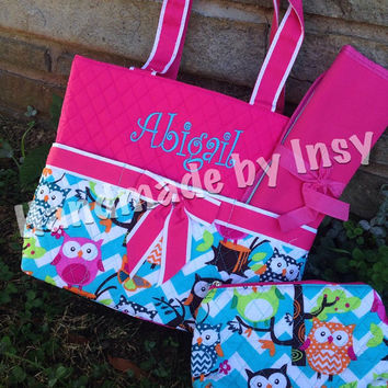 Personalized Owl and Aqua Chevron Quilted Diaper Bag - Available in Brown, Pink, Blue - Great Baby Shower Gift!