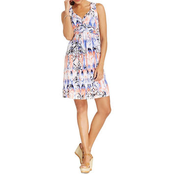 Style & Co. Womens Printed Twist Front Casual Dress
