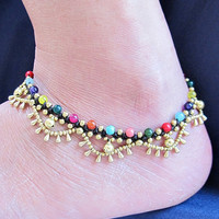 Charm Cascade Ankle Bracelet with Brass Bell and Multi Stones