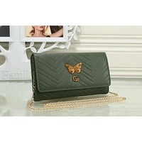 "Hot Sale ""GUCCI"" Popular Women Leather Metal Butterfly Letter Metal Chain Crossbody Satchel Shoulder Bag Green I-OM-NBPF"