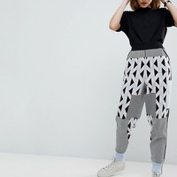 ASOS WHITE Knitted Co-ord Jogger in Geo Print at asos.com