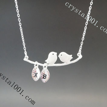 Sterling silver couple bird stamped initial tags necklace