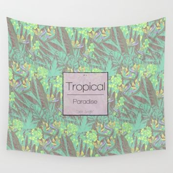 Tropical Paradise: Jade Jungle Wall Tapestry by Ben Geiger