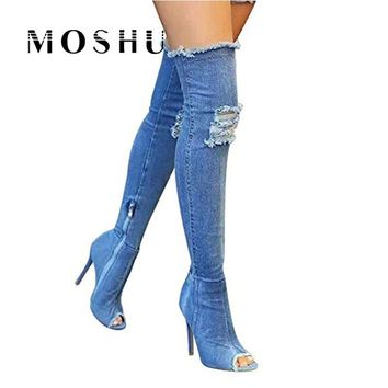 Women Sexy Stiletto Denim Over The Knee High Boots Female Zipper High Boots Women Peep Toe Pumps Chaussure Femme