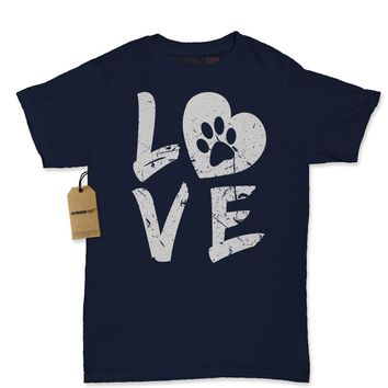 I Love My Dog Paw Print Womens T-shirt