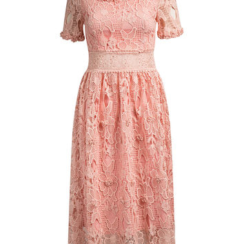 Pink  Floral Crochet Boat Neckline Crochet Lace Midi Dress