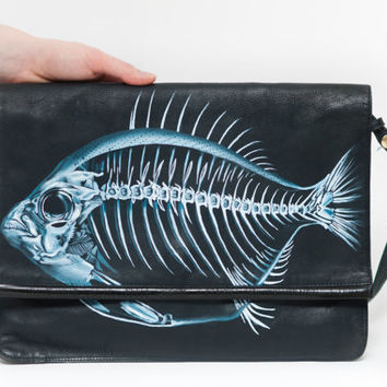 Vintage leather bag 'Lost fish', hand-painted