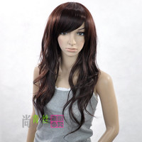 Long Lady Wavy Dark Brown like real human hair Full Wig Synthetic Fibre +wig cap