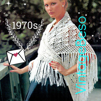 DIGITAL PATTERN • SHAWL Crochet Pattern • Easy to Crochet • Ladies Fan Shaped Motifs • 1970s Vintage Wrap • PdF Pattern • Greek islands