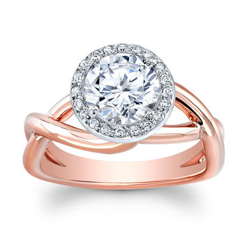 Women's 14k white/rose gold micro pave halo engagement ring with 1.50ct natural Round Brilliant White Sapphire Center 0.10 ctw G-VS diamonds