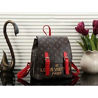 LV Louis Vuitton Fashion New Style Women Casual School Bag Leather Embroidery Letter Backpack Red I-a-BBPFCJ