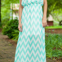 Mint Green Strapless Chevron Print Chiffon Maxi Dress