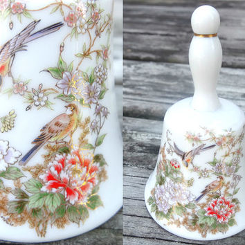 Exotic Porcelain Bell Vintage with Two Birds and Floral Pattern and Gold Painted Small Size