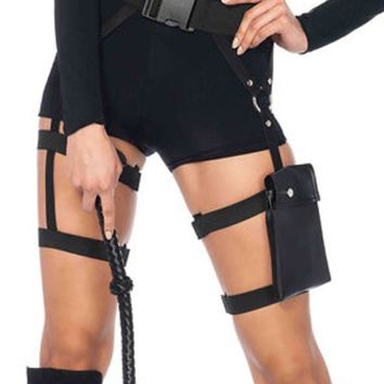 Multi strap garter pocket utility belt in BLACK